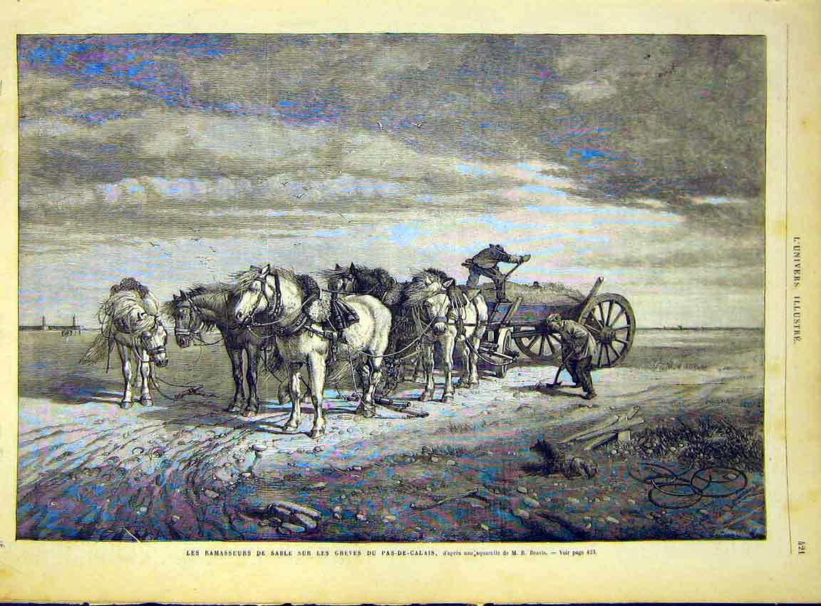 Print Calais Sand Waggon Horses France French 1868 21Lun1 Old Original