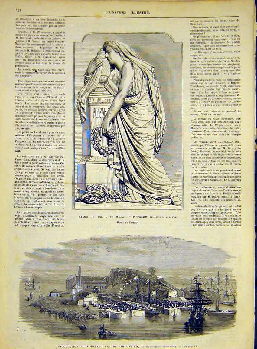 Print Statue Ponsard Amy Rio-Janiero Dock French 1868 28Lun1 Old Original