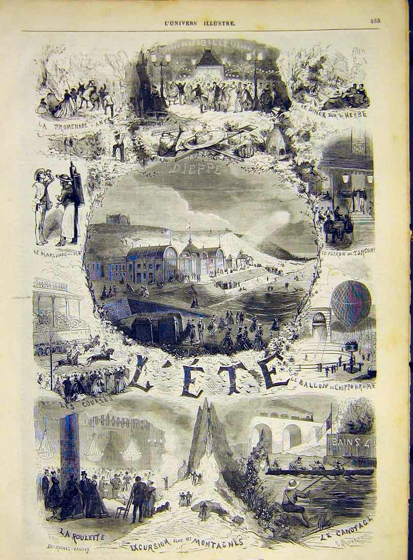 Print Summer L'Ete Sketches Desroches-Valnay 1868 33Lun1 Old Original