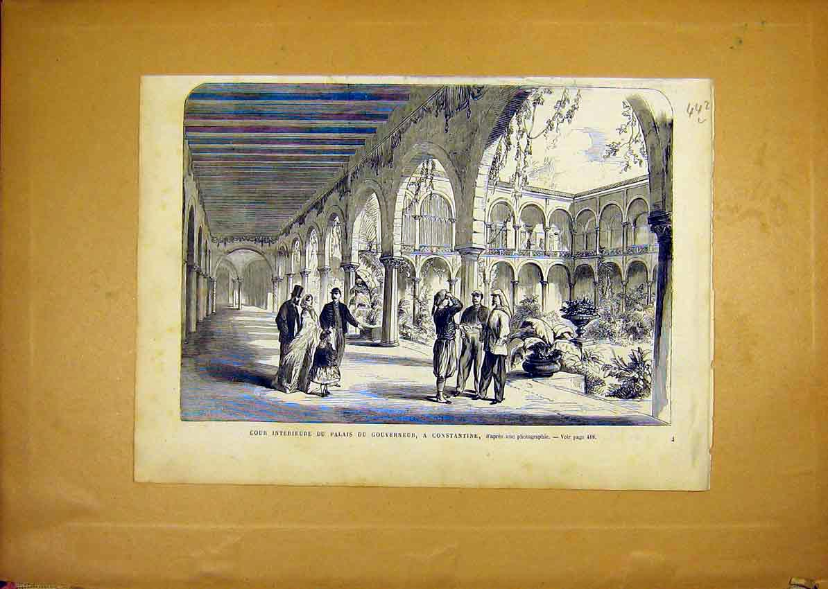 Print Constantine Palace Governor Garden French 1868 42Llun1 Old Original