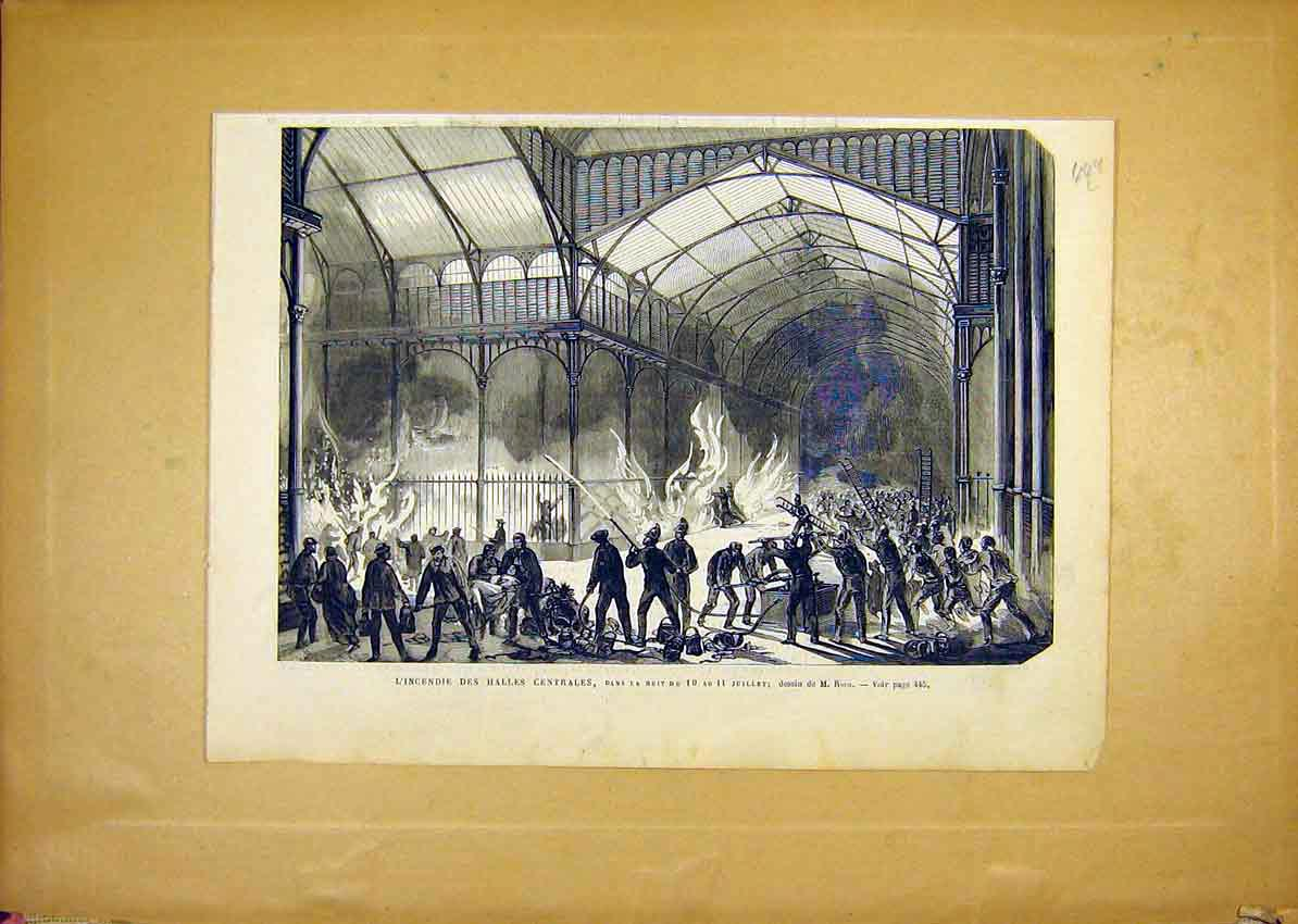 Print Fire-Brigade Central Hall Riou French 1868 49Llun1 Old Original