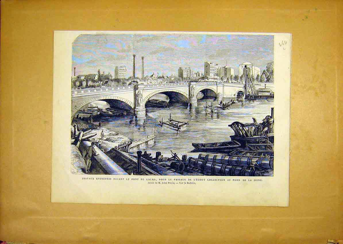 Print Bridge Alma Seine Boats River France French 1868 64Llun1 Old Original
