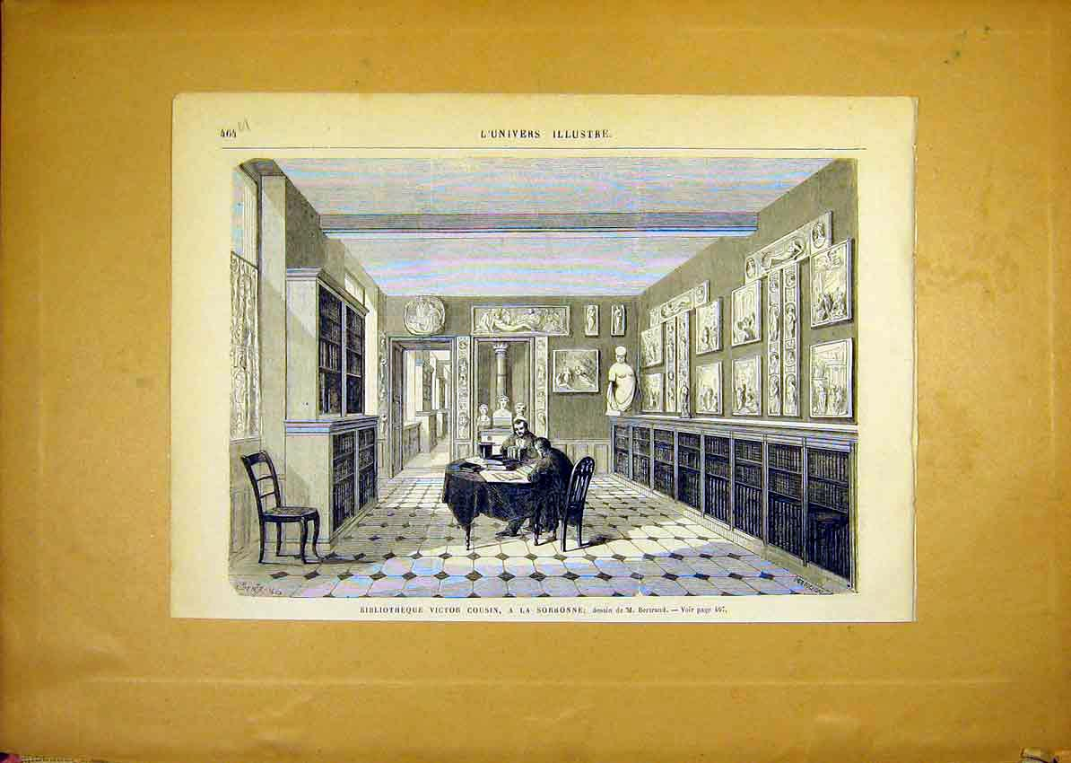 Print Lbrary Cousin Sorbonne France French 1868 64Ulun1 Old Original