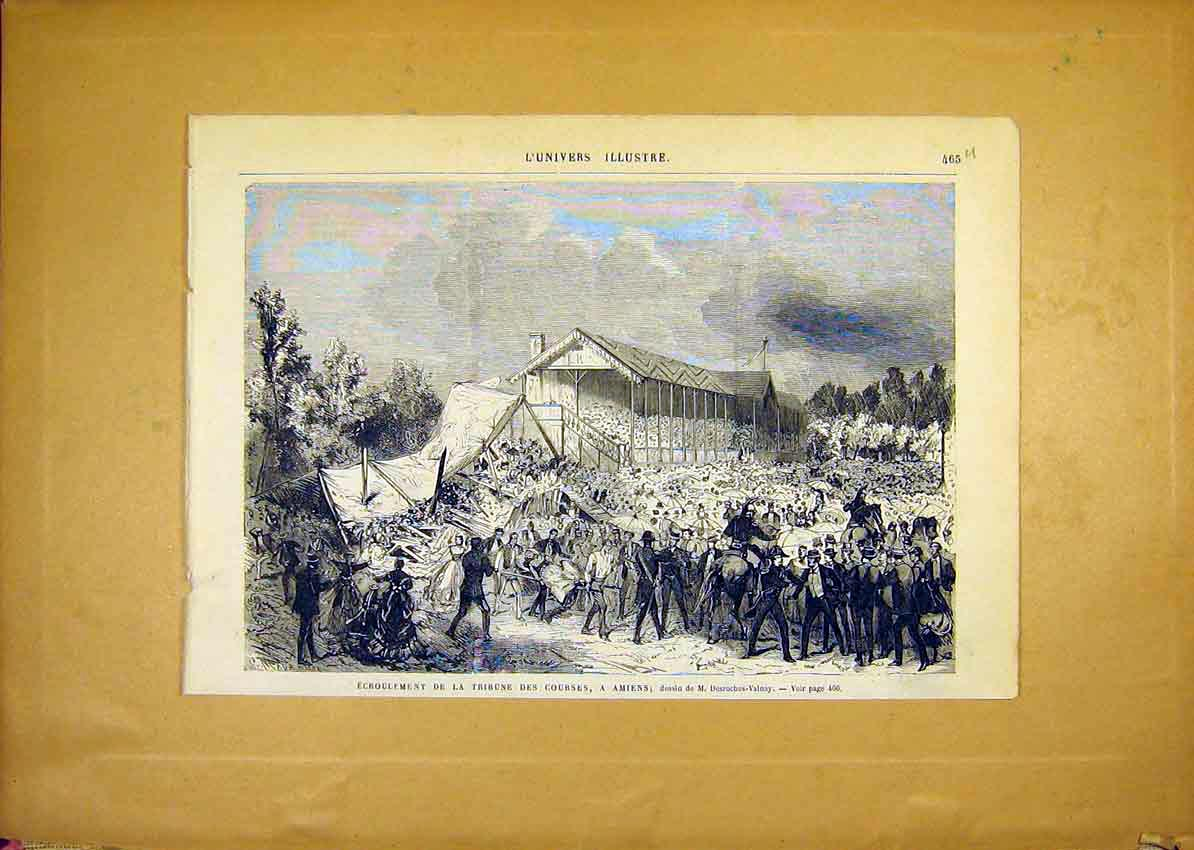 Print Amiens Disaster Tribune Course French 1868 65Ulun1 Old Original