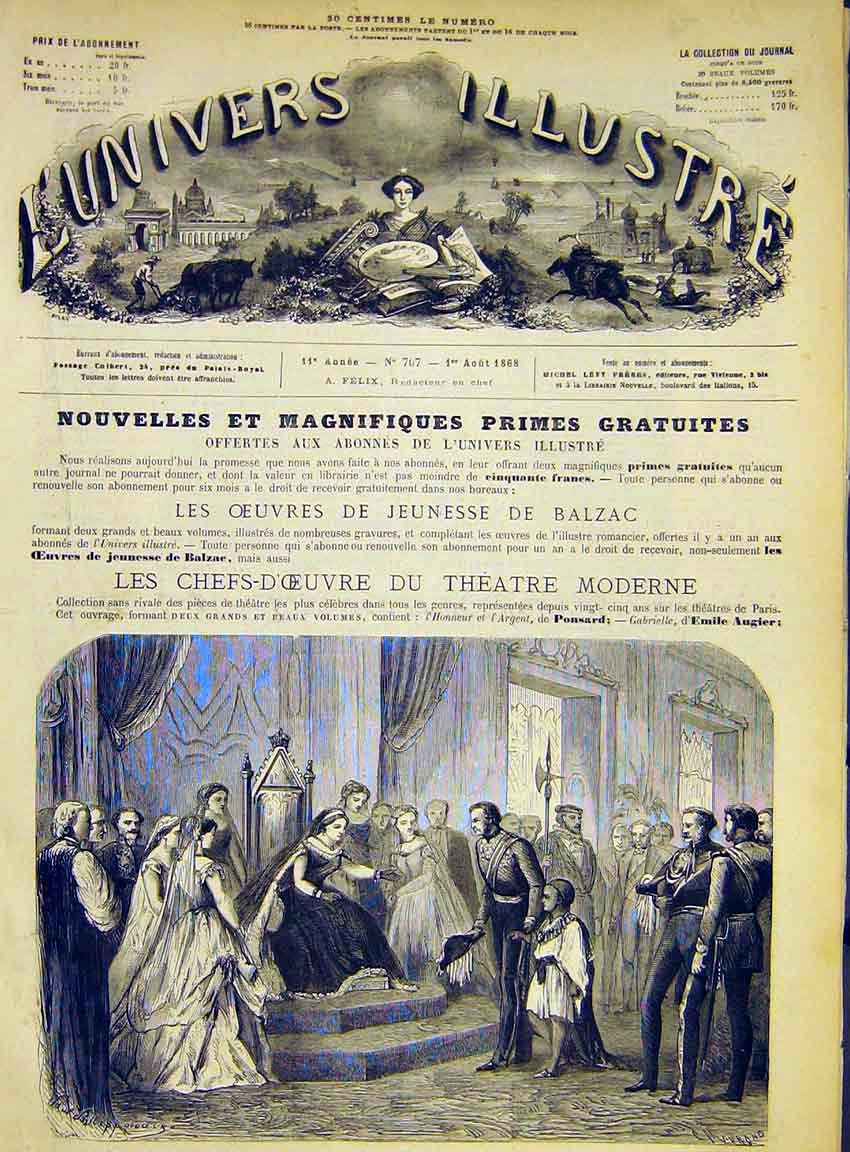 Print General Napier Theodoros French 1868 74Lun1 Old Original