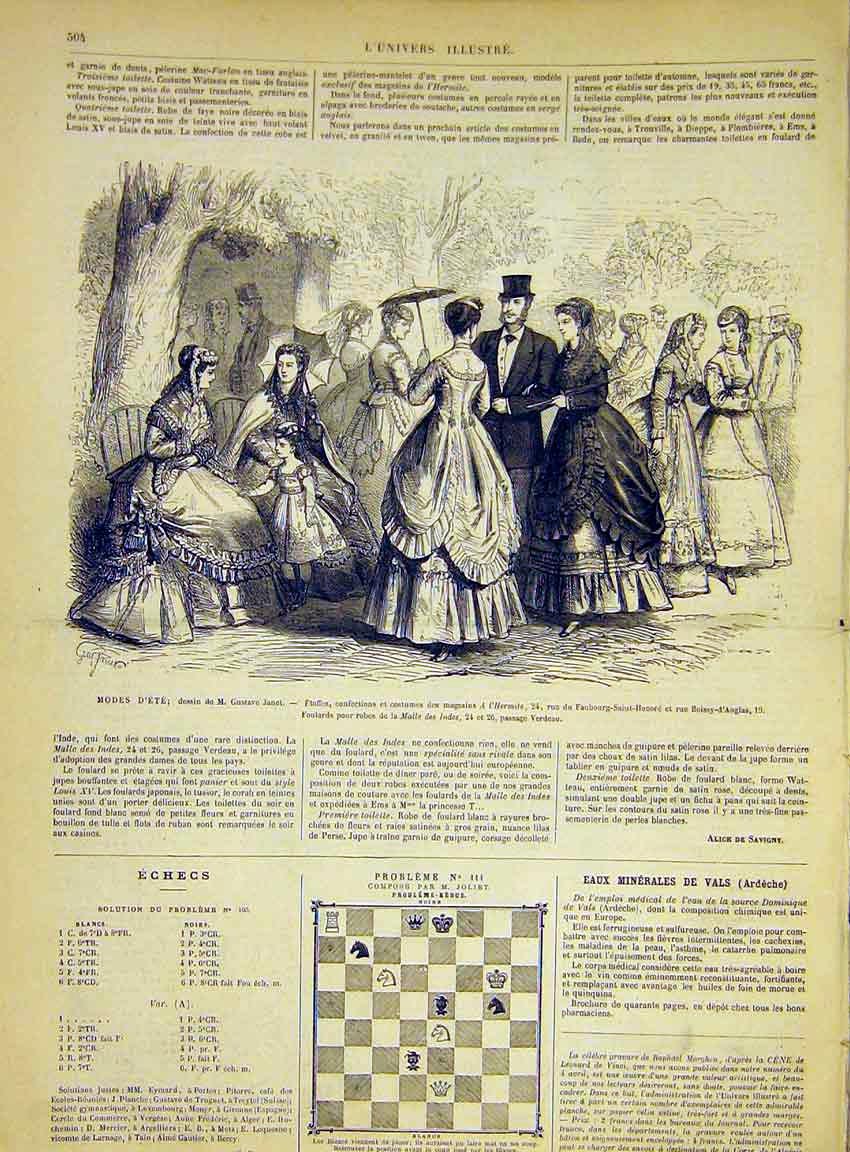 Print Fashion Ladies Summer Janet Hermite French 1868 04Lun1 Old Original