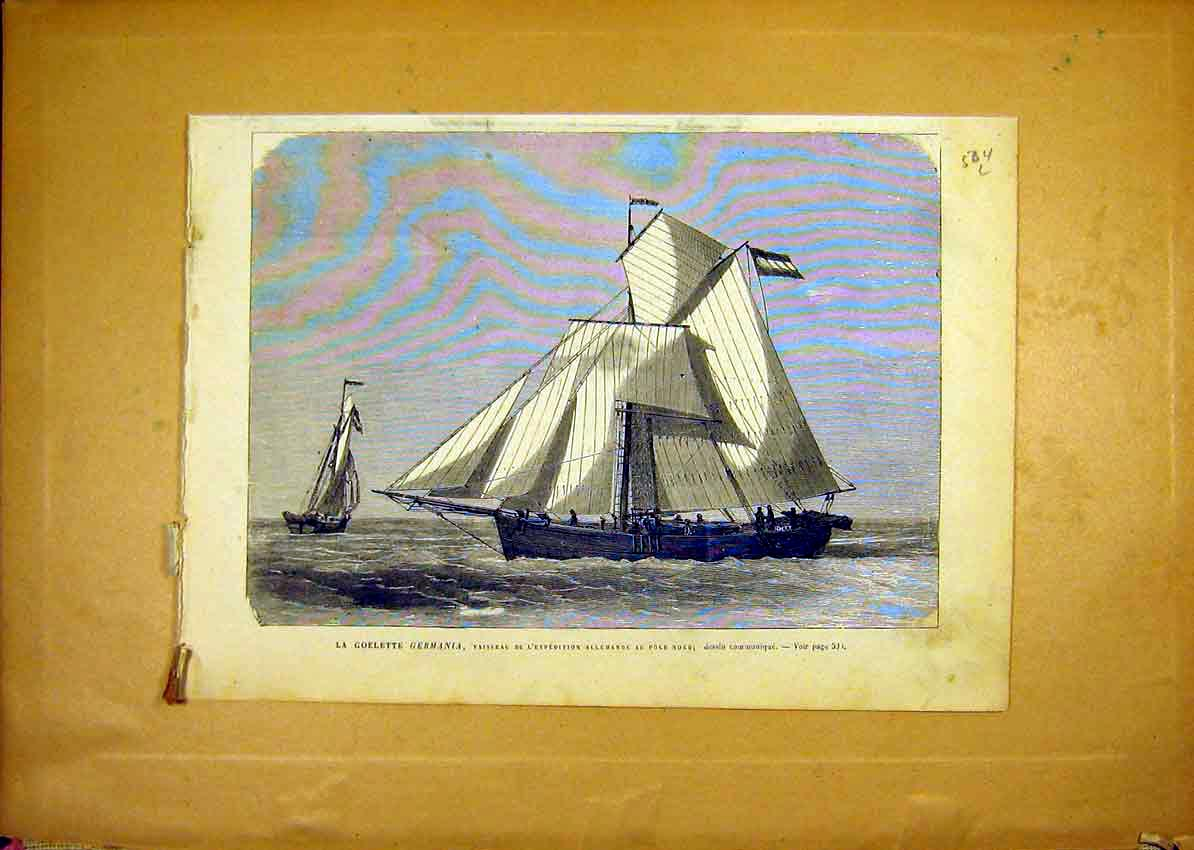 Print Yacht Germania Boat Expedition North-Pole 1868 04Llun1 Old Original
