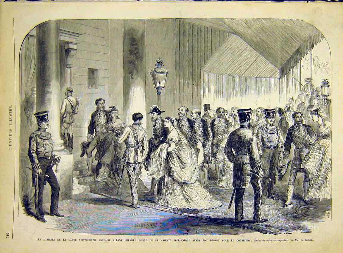 Print Aristocratic English Royal Party French 1868 12Lun1 Old Original