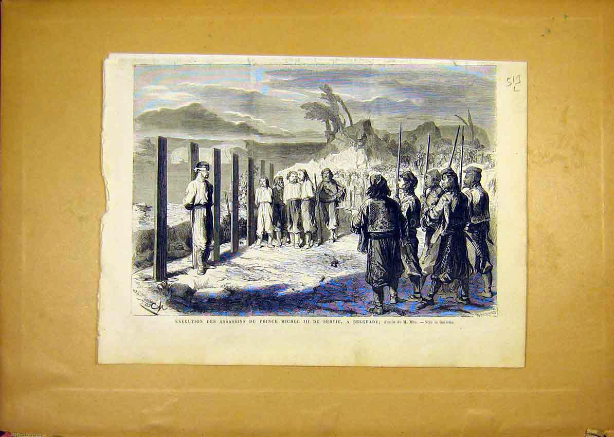 Print Assasins Execution Prince Michel Servia Belgrade 1868 13Llun1 Old Original