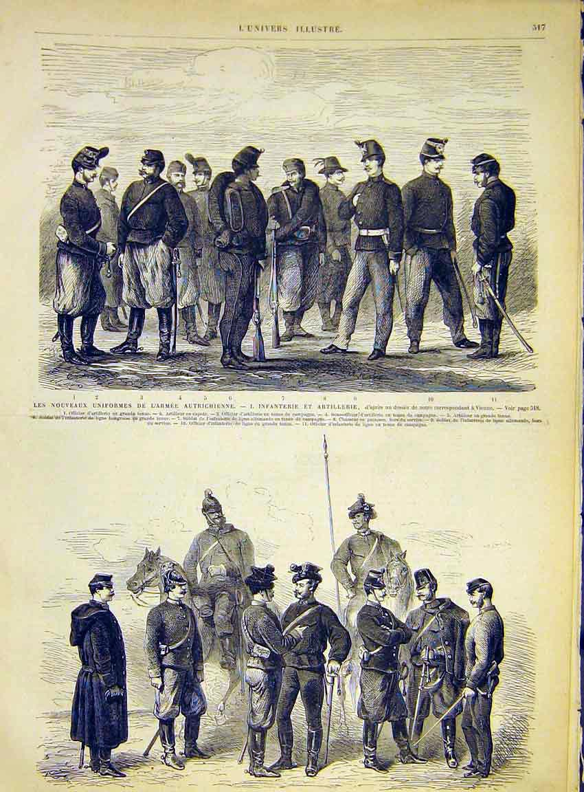 Print Uniforms Army Military Austrian Infantry Artillery 1868 17Lun1 Old Original