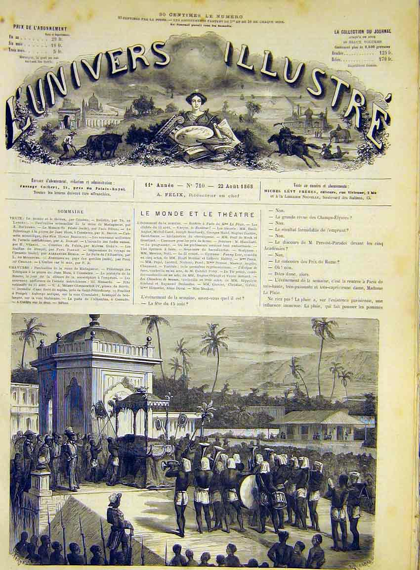 Print Funeral Solennelles Madagascar French 1868 22Lun1 Old Original