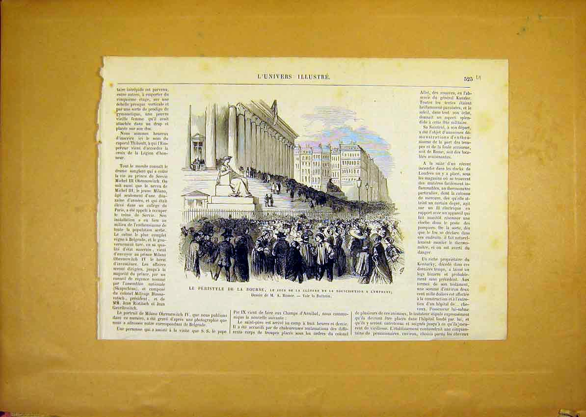 Print Statue Bourse Peristyle Cloture Romer French 1868 25Ulun1 Old Original