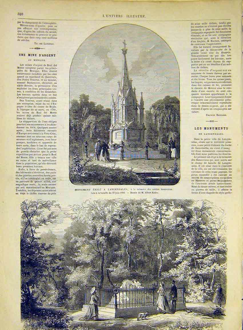 Print Langensalza Hanoverian Prussian Monument 1868 40Lun1 Old Original
