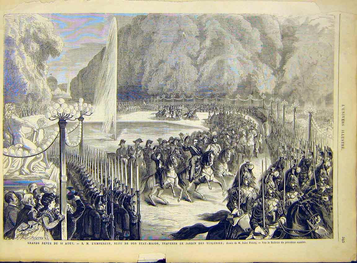 Print Military Review Emperor Tuileries Paris France 1868 45Lun1 Old Original
