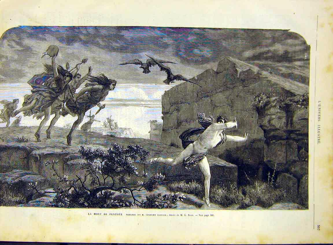 Print Penthee Gleyre Fine Art French 1868 57Lun1 Old Original