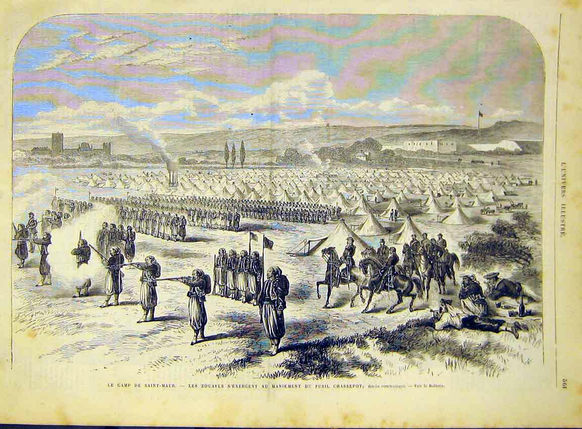 Print Camp Military Saint-Maur Zouaves Guns French 1868 61Lun1 Old Original