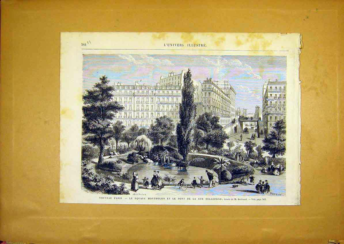 Print Paris Square Montholon Bellefond French 1868 64Ulun1 Old Original