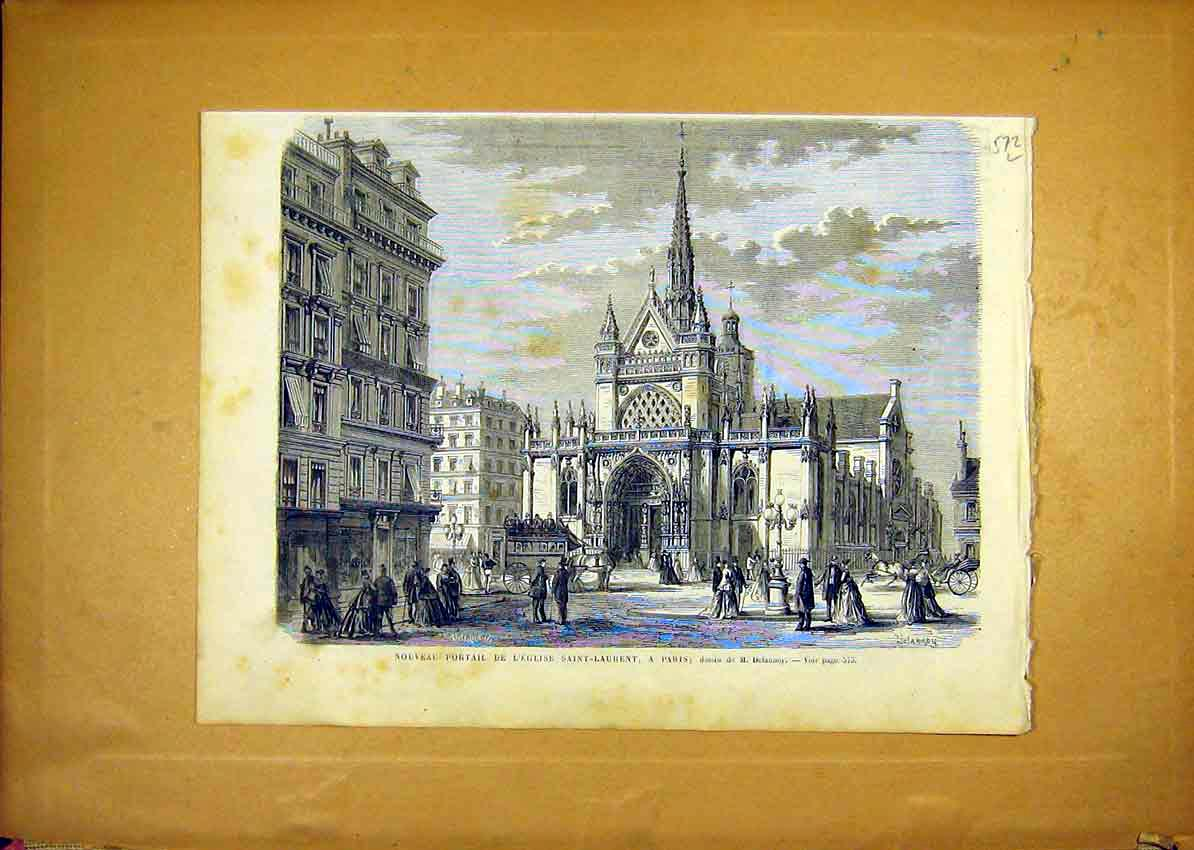 Print Church Saint-Laurent Paris Portal French 1868 72Llun1 Old Original