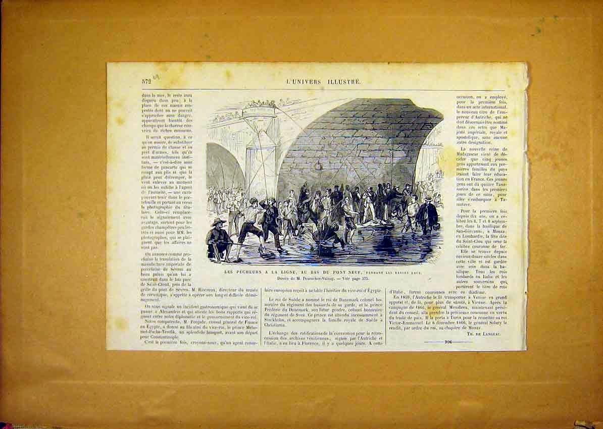 Print Fishermen Ligne Neuf Bridge Fishing French 1868 72Ulun1 Old Original