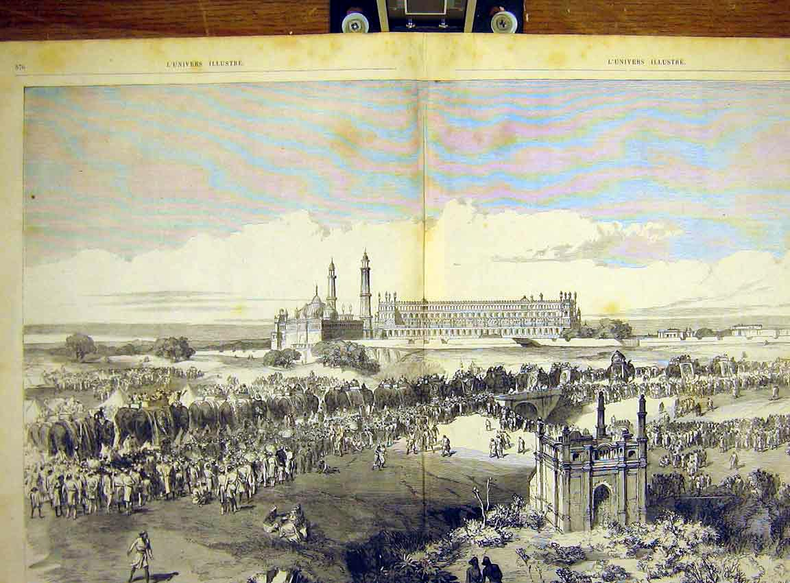 Print Lucknow Durbar Viceroy India Clint French 1868 75Tlun1 Old Original