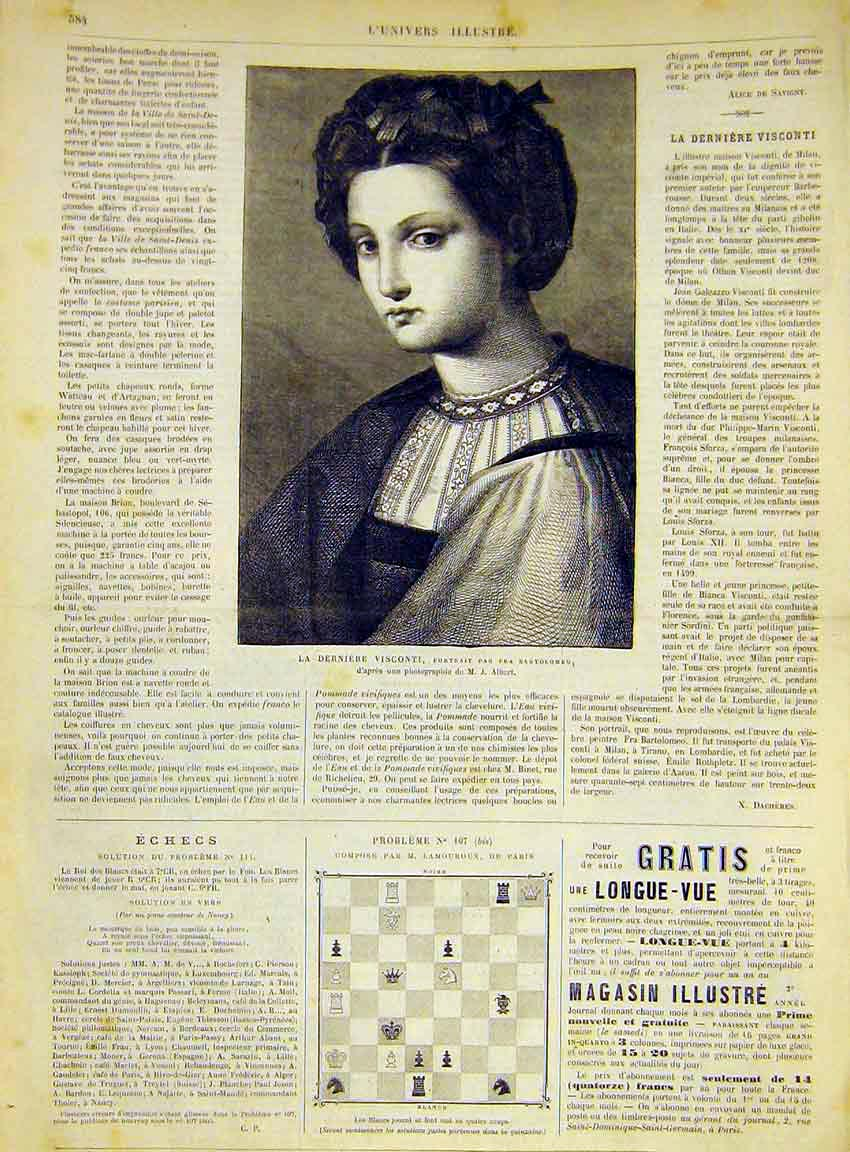 Print Portrait Visconti Wife Bartolomeo French 1868 84Lun1 Old Original