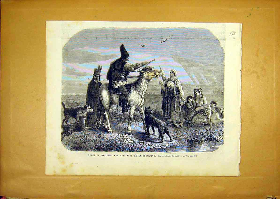 Print Costume Dress Bukowine People Malchus French 1868 88Llun1 Old Original