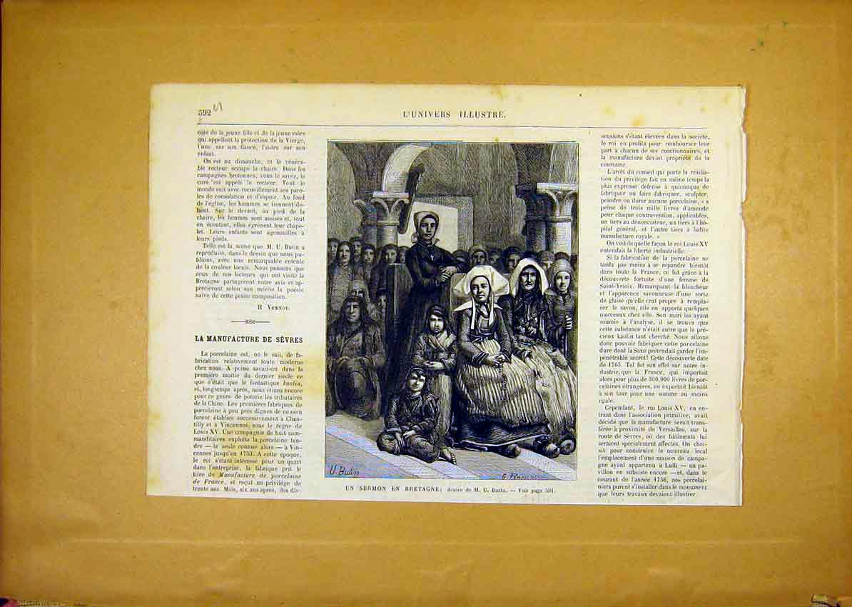 Print Church Service Bretagne Butin French 1868 92Ulun1 Old Original