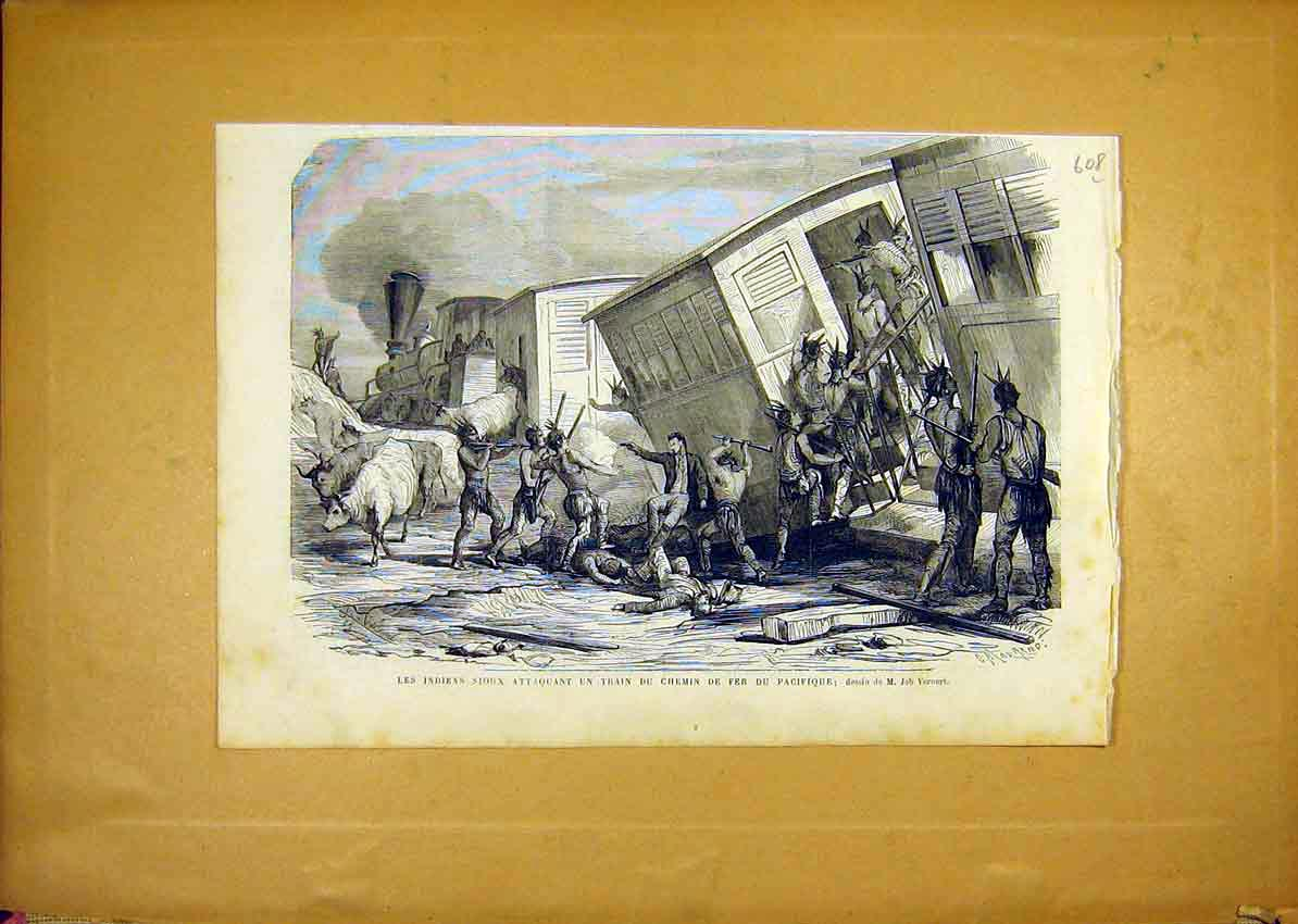 Print Souix Indian Train Railway Pacific French 1868 08Llun1 Old Original