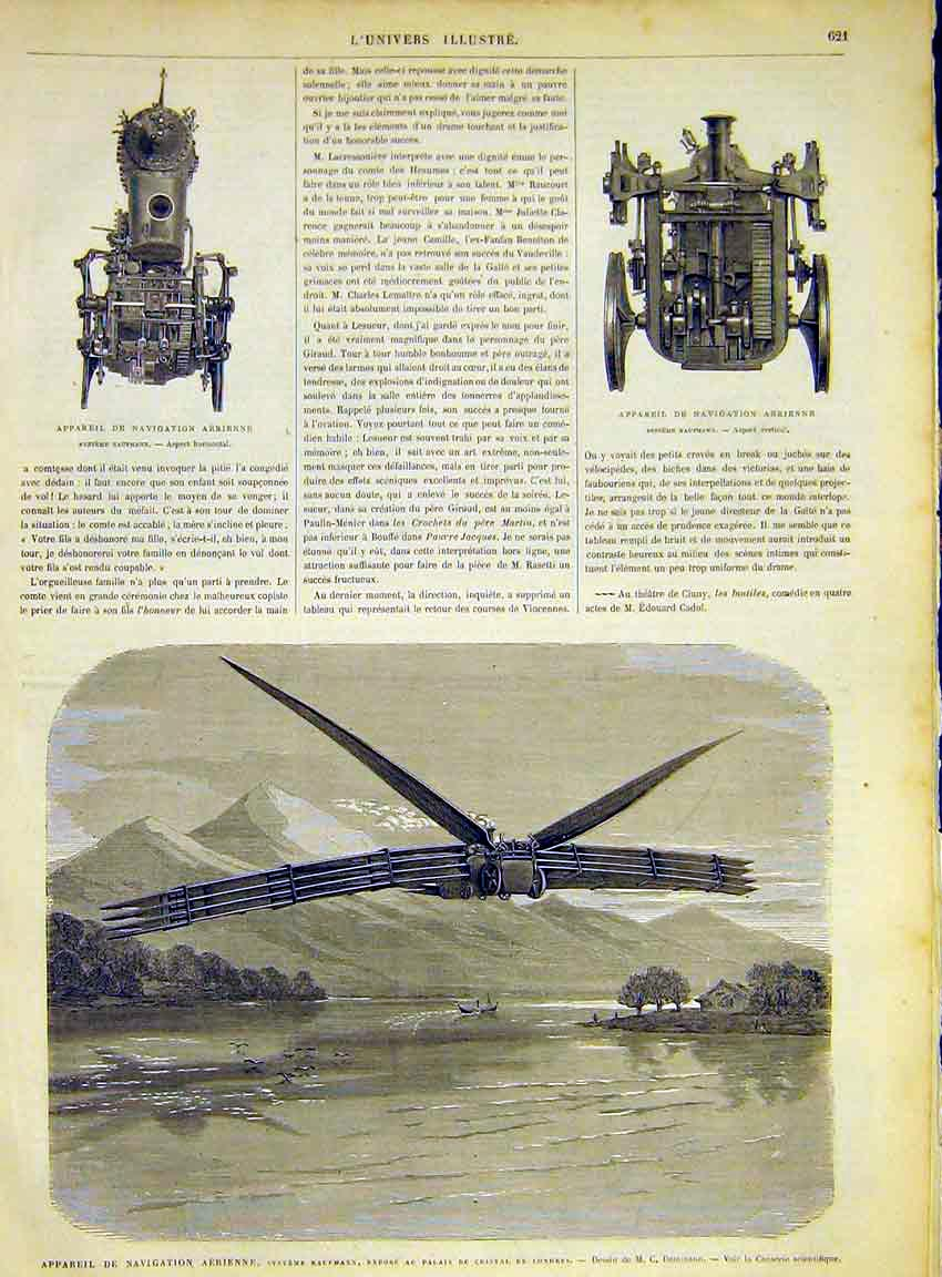 Print Aeroplane Aviation Engine Aerial Kaufmann 1868 21Lun1 Old Original