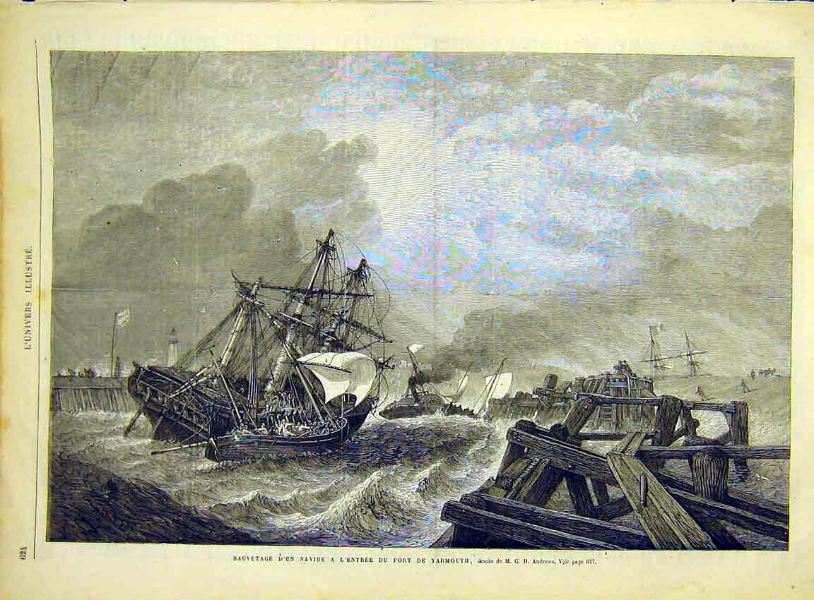 Print Navy Ships Yarmouth Wreck Storm French 1868 24Lun1 Old Original