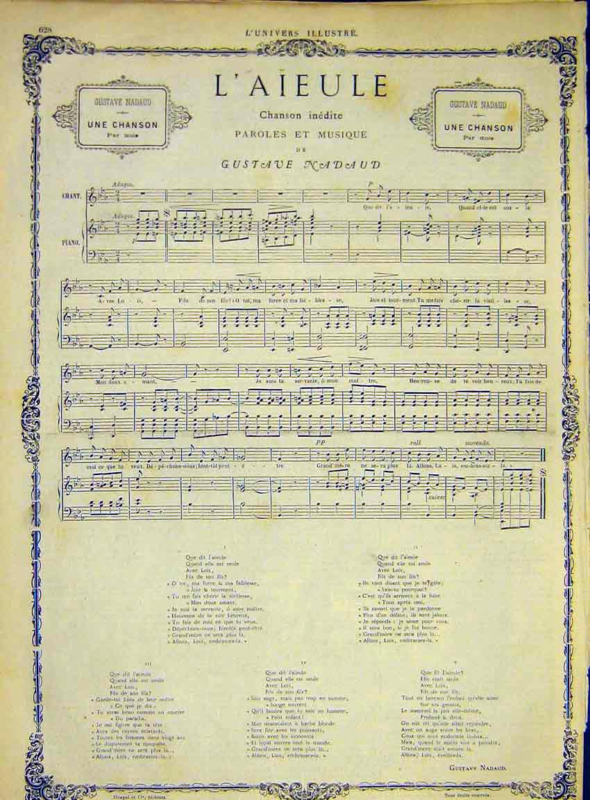 Print Music Score Song Nadaud L'Aieule French 1868 28Lun1 Old Original