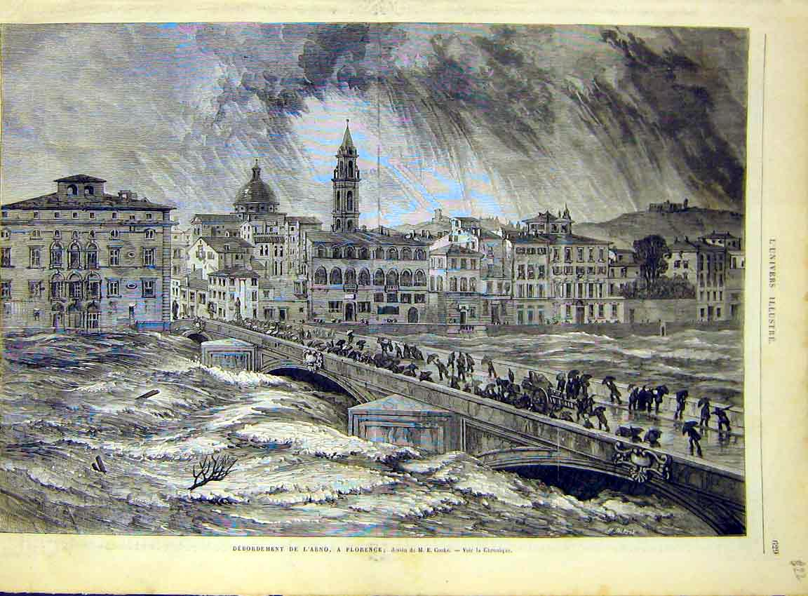 Print Arno Florence Italy Floods River Bridge 1868 29Lun1 Old Original