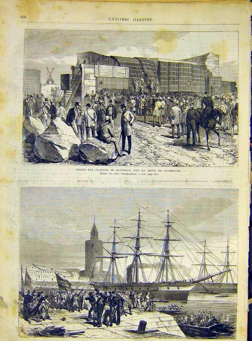 Print Plymouth Cadix Ship Blindage French 1868 36Lun1 Old Original