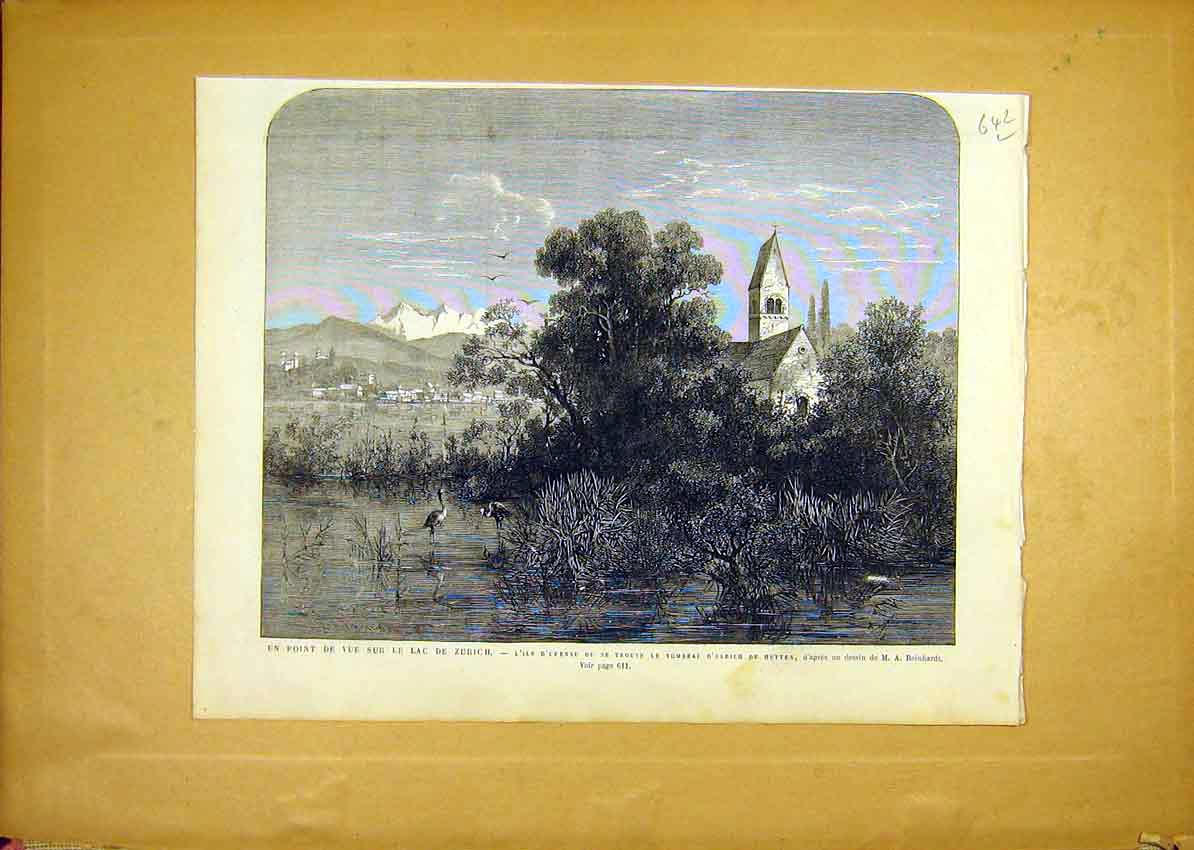 Print Zurich Lake Birds Ulrich Hutten Tomb French 1868 42Llun1 Old Original