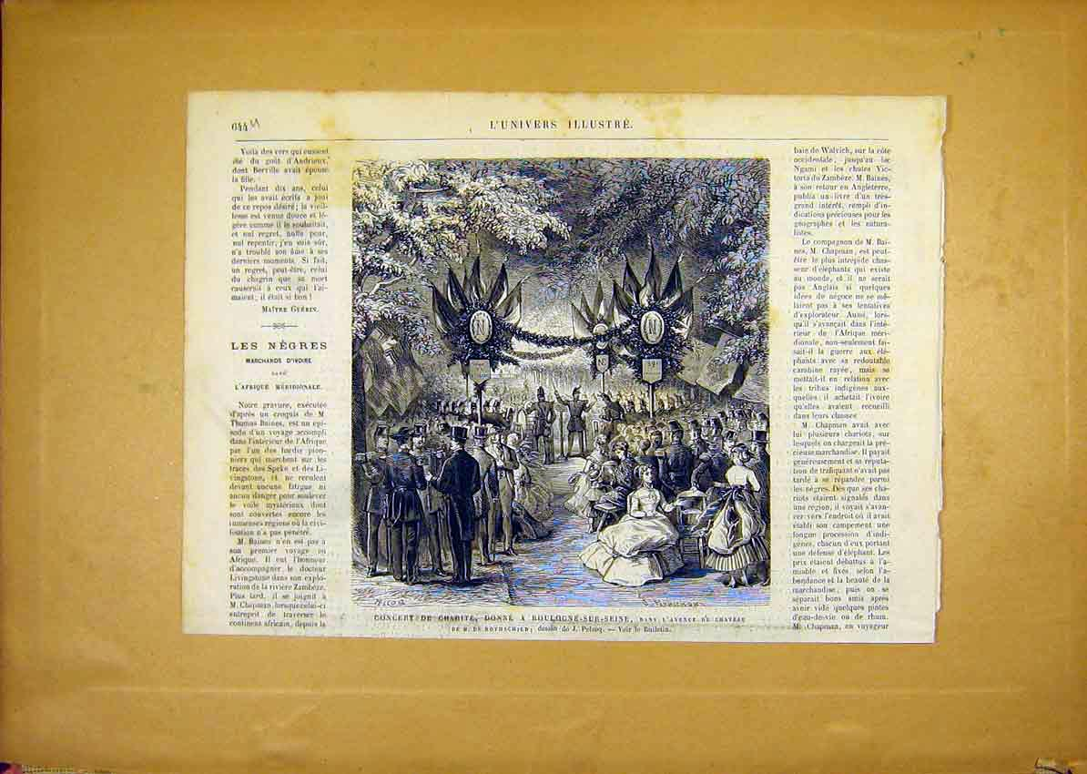 Print Charity Concert Boulogne-Sur-Seine French 1868 44Ulun1 Old Original