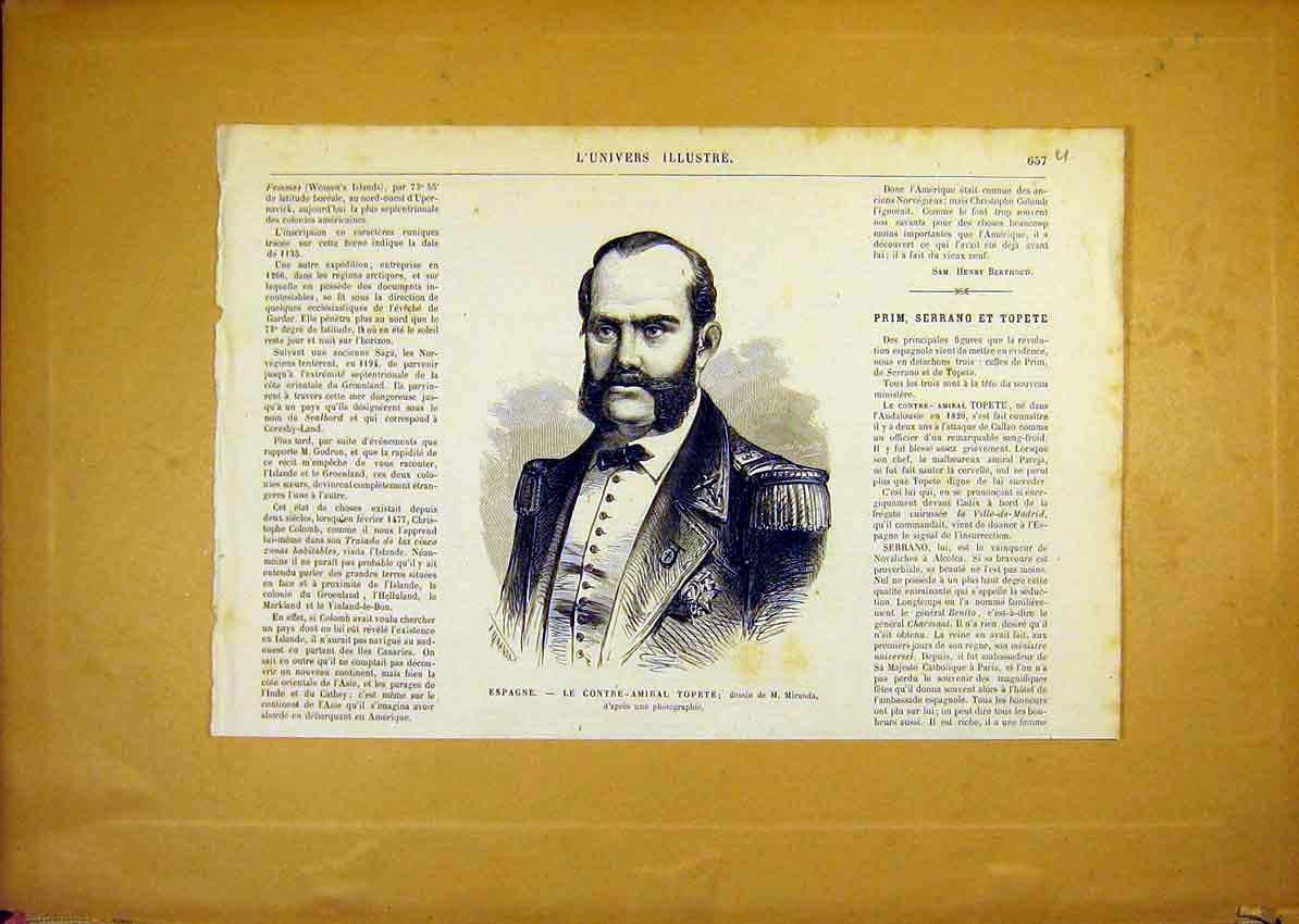 Print Portrait Topete Spain Spanish French 1868 57Ulun1 Old Original