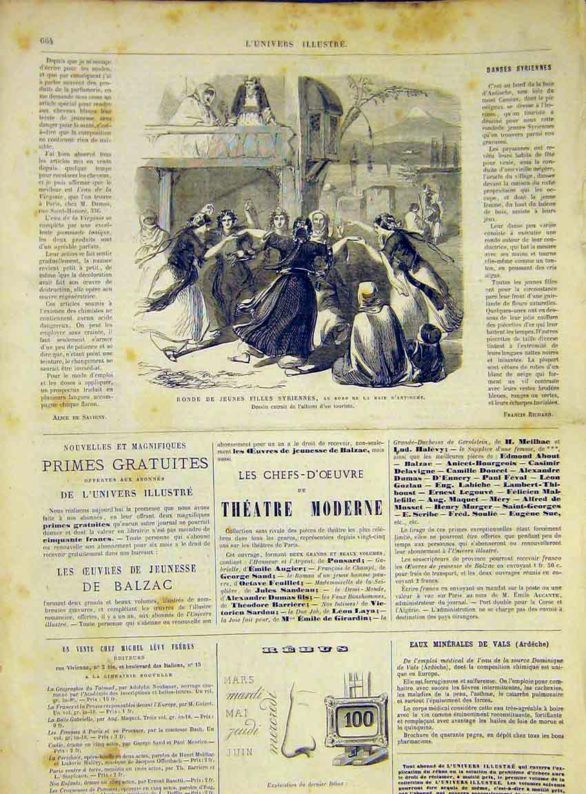 Print Syrian Ladies Antioche Syria French 1868 64Lun1 Old Original