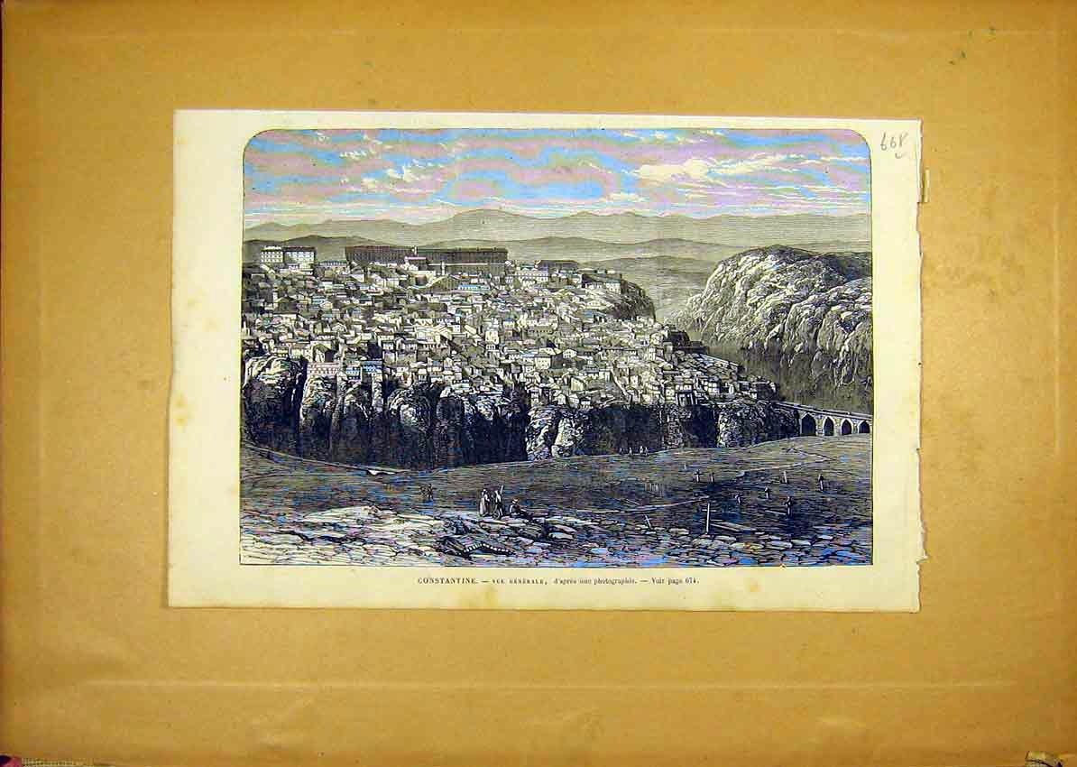 Print Constantine View City French 1868 68Llun1 Old Original