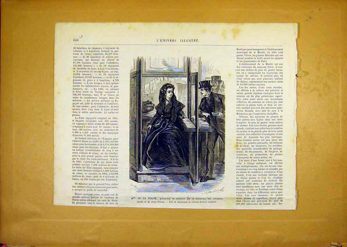 Print Perine Capugines Portrait French 1868 68Ulun1 Old Original