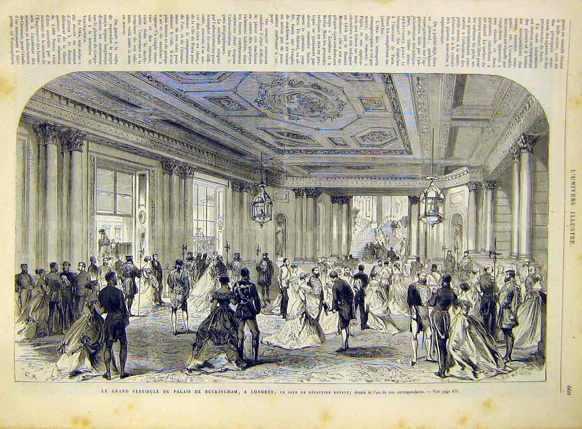Print Buckingham Palace London Hall French 1868 69Lun1 Old Original