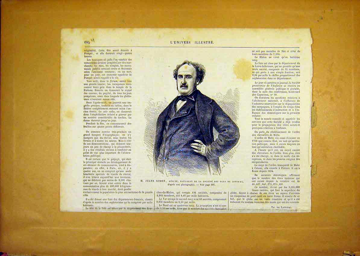 Print Portrait Simon Deputy President French 1868 84Ulun1 Old Original