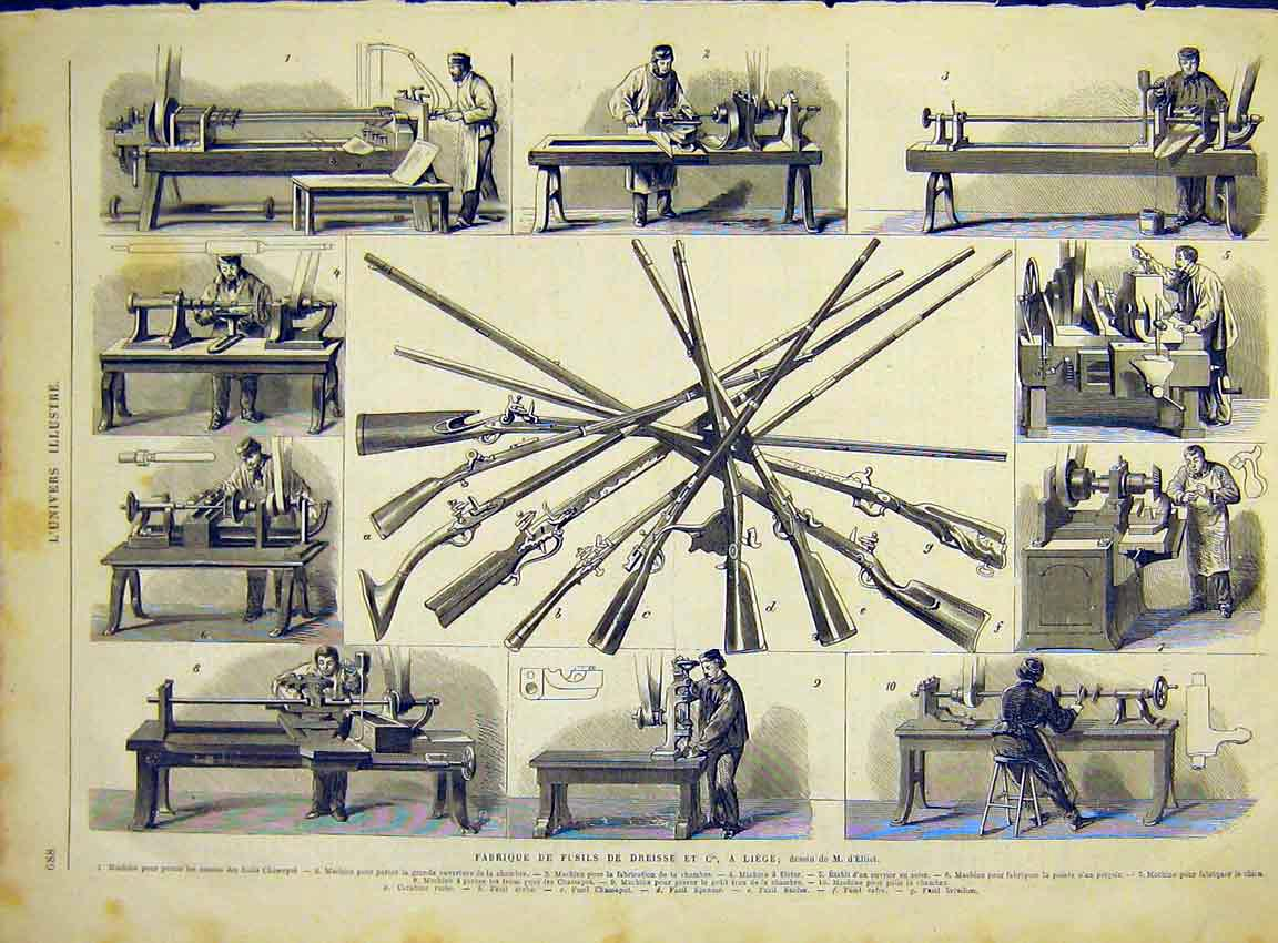 Print Guns Weapons Factory Liege French 1868 88Lun1 Old Original