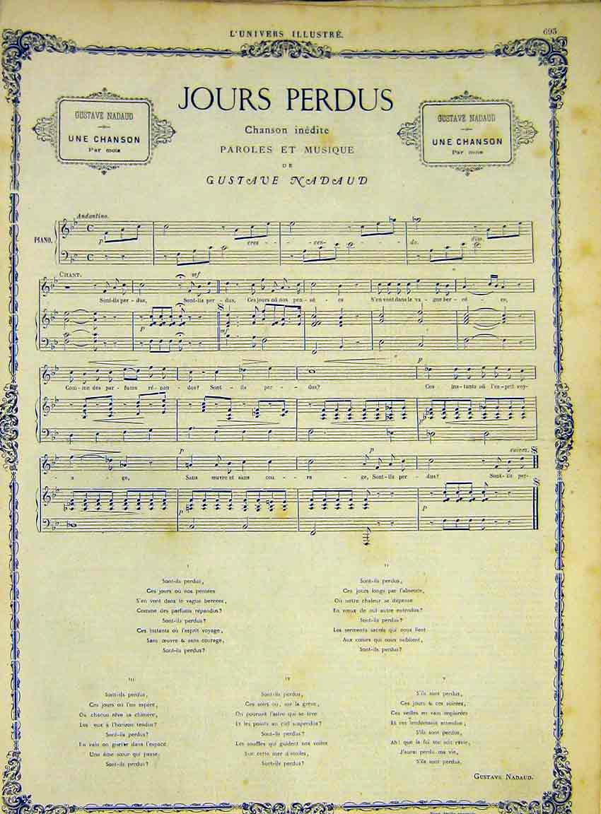 Print Song Music Score Nadaud Jours Perdus French 1868 93Lun1 Old Original