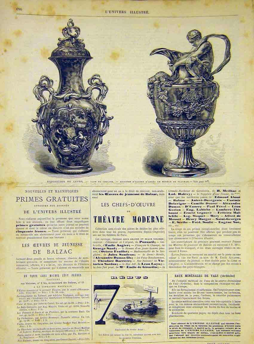 Print Exhibition Leeds Vase Chelsea Flaxman French 1868 96Lun1 Old Original