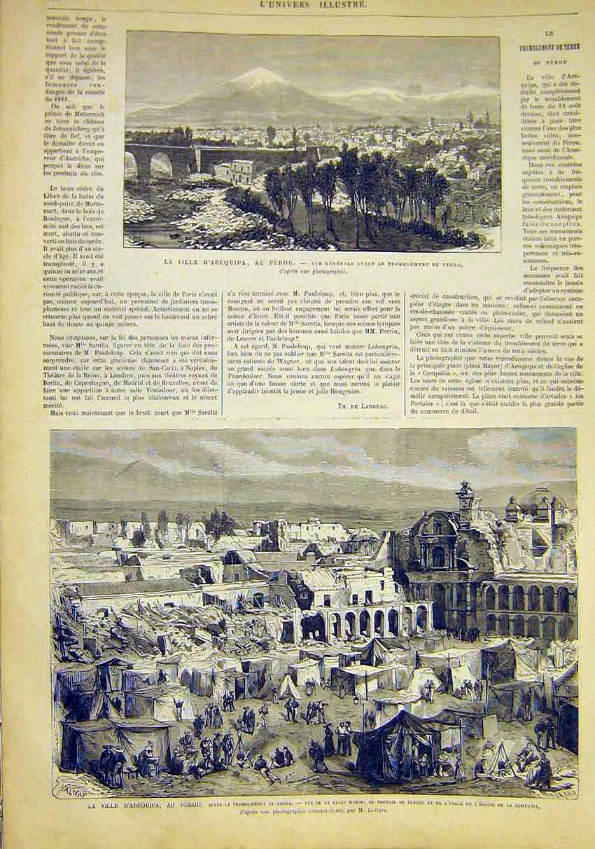 Print Arequipa Peru View Plaza Mayor French 1868 00Lun1 Old Original