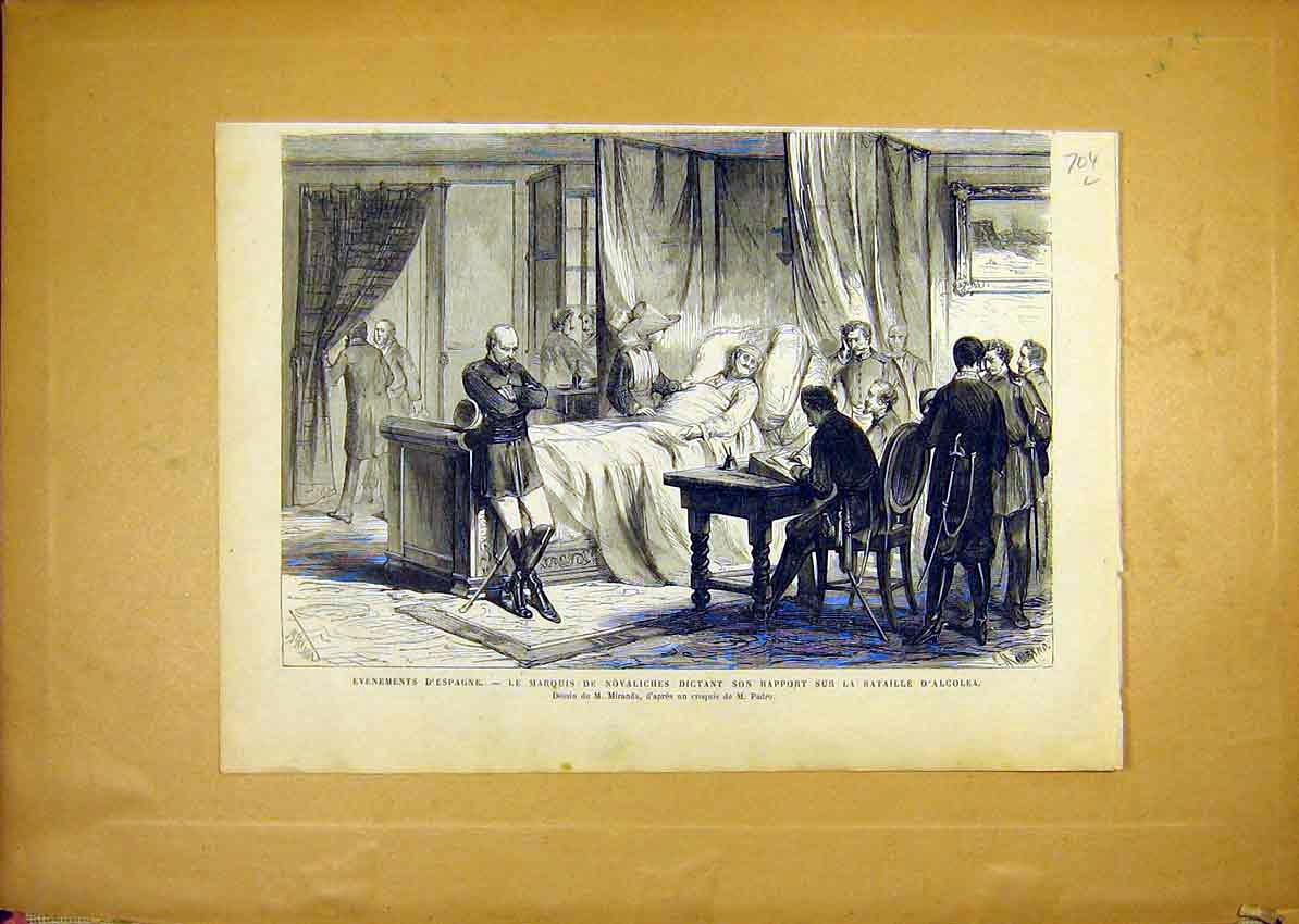 Print Spain Novaliches Alcolea Battle French 1868 04Llun1 Old Original