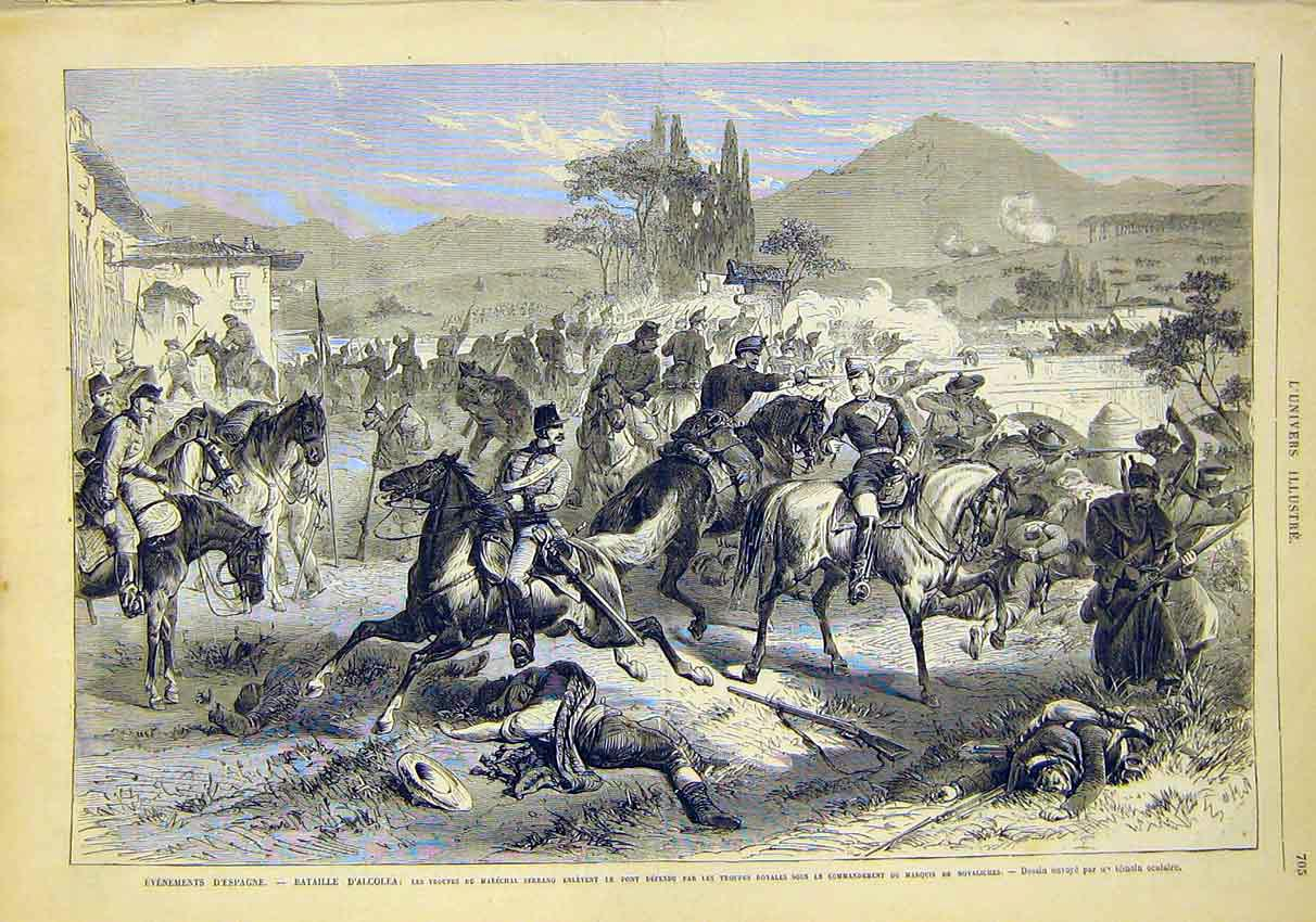 Print Battle Alcolea Troops Serrano French 1868 05Lun1 Old Original