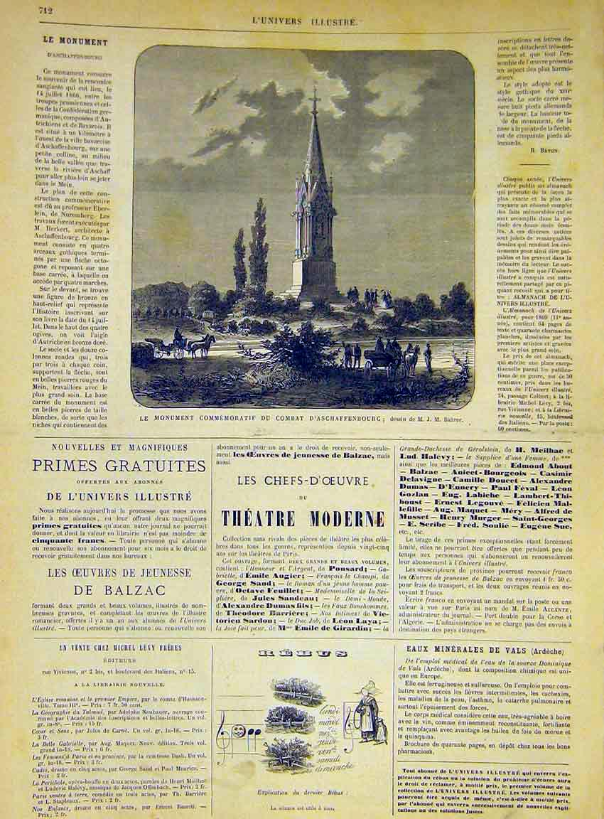 Print Monument Aschaffenbourg French 1868 12Lun1 Old Original