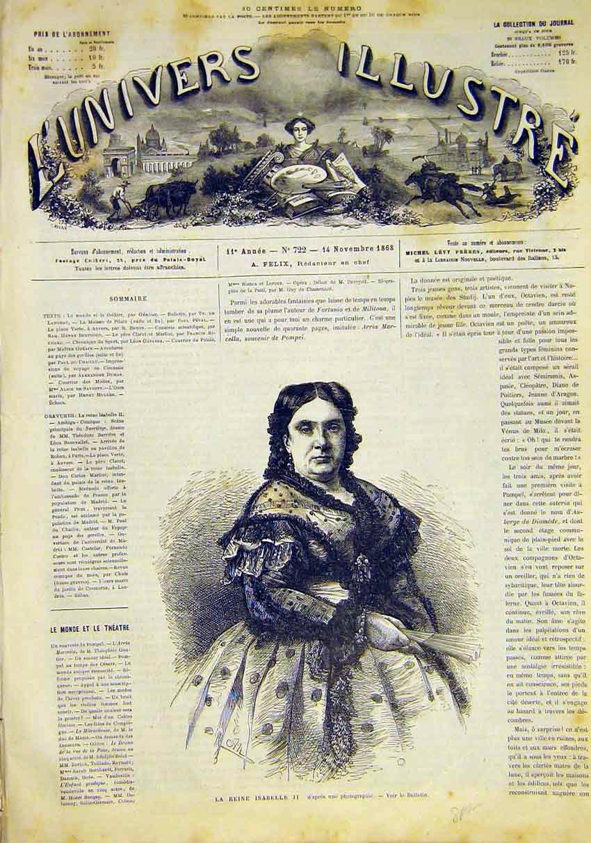 Print Portrait Queen Isabelle French 1868 14Lun1 Old Original