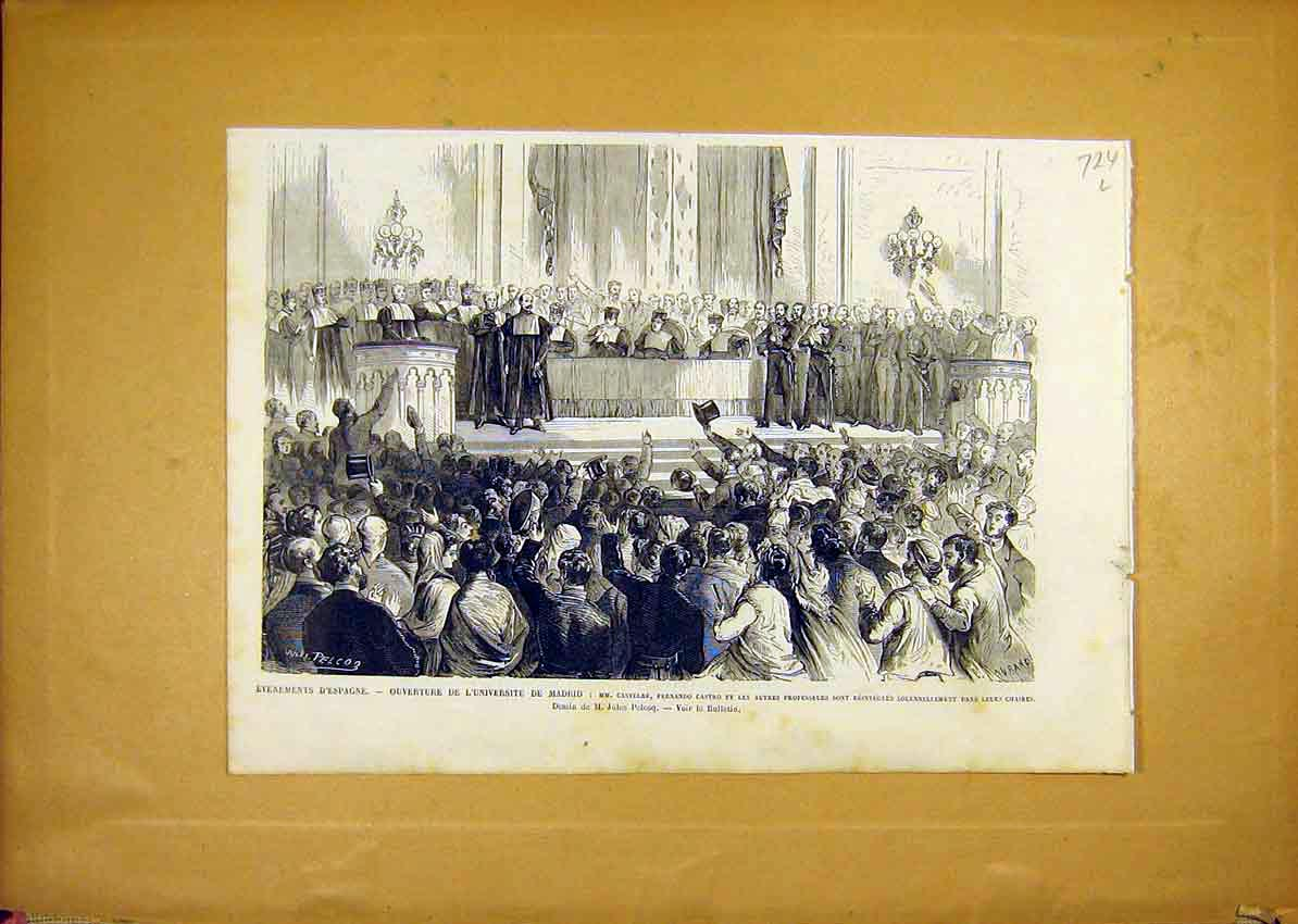 Print Madrid Spain University Castelar Castro 1868 24Llun1 Old Original